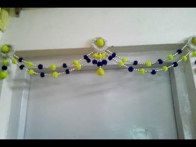 Wow!!!New toran design making at home.moti, bangles and woole toran