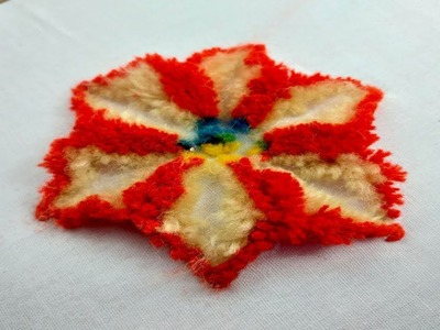 Amazing amish plushwork flower design for dress.