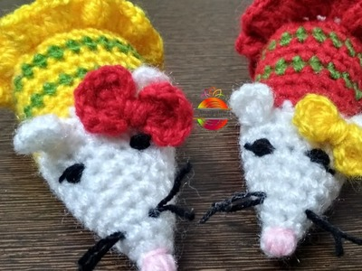 Beautiful and cute little Ms Mouse amigurumi. #amigurumi #mouse #softtoy #christmas
