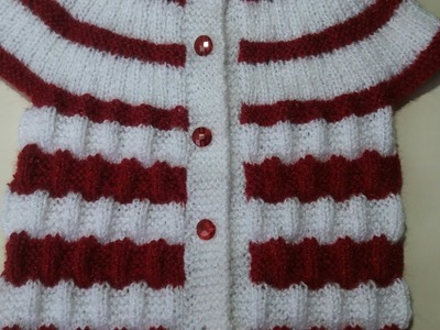 Double colour baby cardigan starting from neck # part - 2