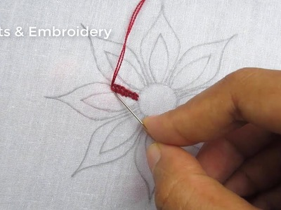 Hand embroidery, Beautiful flower embroidery tutorial, Easy Flower embroidery design