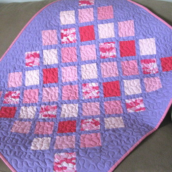 Handmade Pink and Purple Patchwork Baby Girl Quilt Crib Size Toddler quilts By Coco