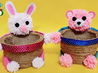 How to Make Beautiful crafts |  cups jute rope organizer | Bunny and teddy baskets organiser idea