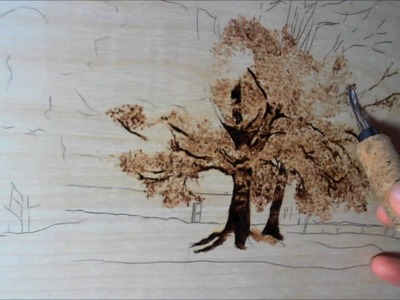 Jeans Pyrography art (How to draw a Tree)
