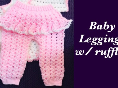 LEFT How to: Newborn baby girl pants | leggings trousers with ruffles 0-6M - Crochet for Baby #185