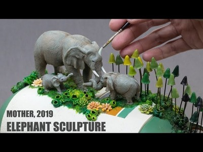 "Time-Lapse : Elephants Sculpture ""Mother"""