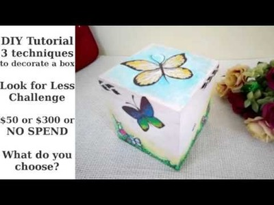 3 DIY Tutorials for Decorative Decoupage Painted Box - Look for Less Challenge