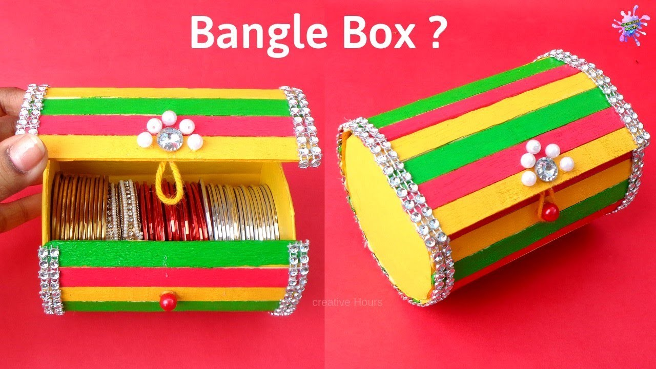 Bangle Box making at Home with waste Ice cream Sticks   Best out of waste