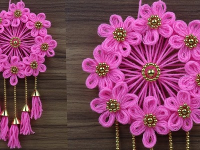 Best Out Of Waste Woolen Door  Hanging.How To Make Wall Hanging For Room Decor.Woolen Craft Idea