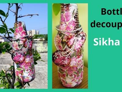 Bottle Decoupage   Altered Bottle   Decorative Vase   Spring Home Decor   Sikha M