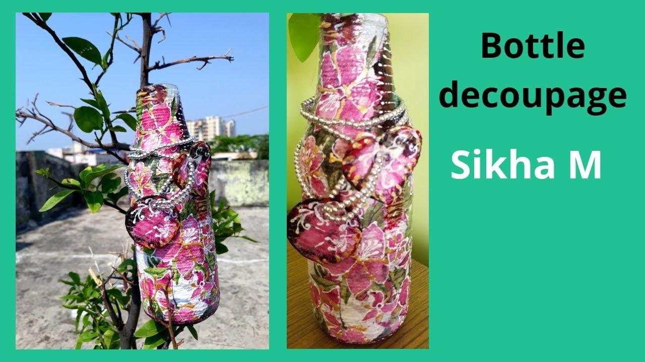 Bottle Decoupage | Altered Bottle | Decorative Vase | Spring Home Decor | Sikha M