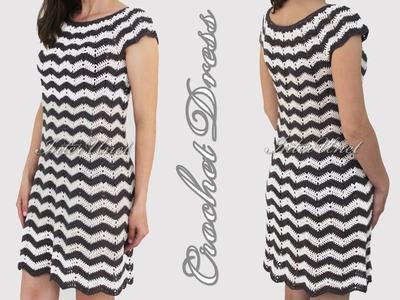 DIY dress - black.white stripes dress crochet pattern
