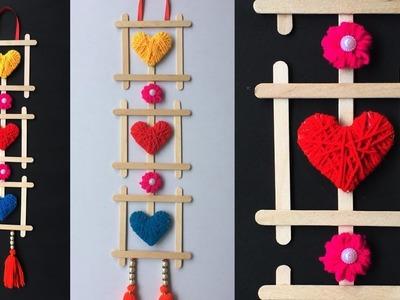 DIY Popsicle stick craft   Ice cream stick craft   Best out of waste    Woolen craft ideas