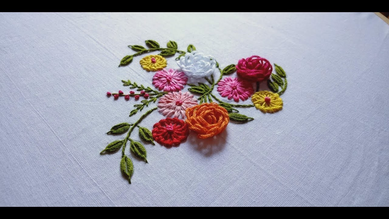 Hand embroidery. 3 different flowers embroidery design for dresses and frocks.