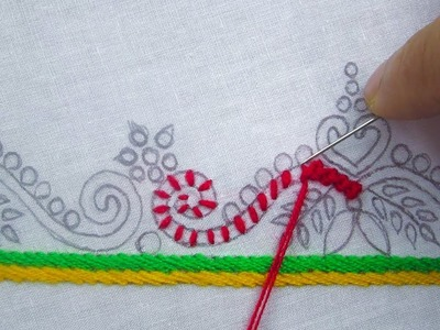 Hand Embroidery, Beautiful Border Line Embroidery, Embroidery design for dress