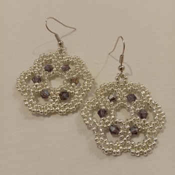 Handmade Dark Purple Silver Flower Earrings
