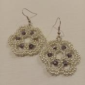 Handmade Dark Purple Silver Flower Earrings