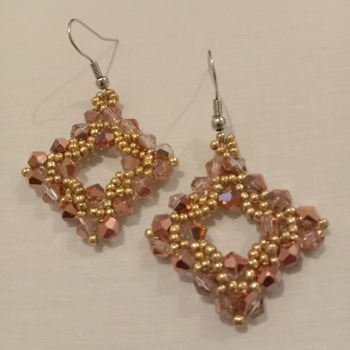 Handmade Golden Rose Gold Diamond Shape Earrings