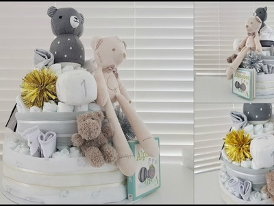 How To Make a Nappy Diaper Cake Tutorial | Gender Neutral