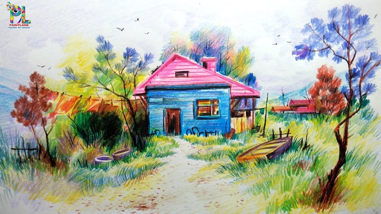 Draw, Learn Shading A Scenery with Colored Pencils for ...