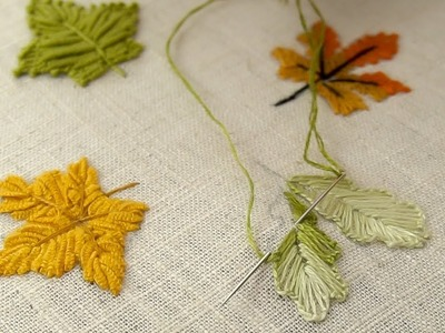 NEW HAND EMBROIDERY STITCHES FOR BEGINNERS : 04 Types of Leaves