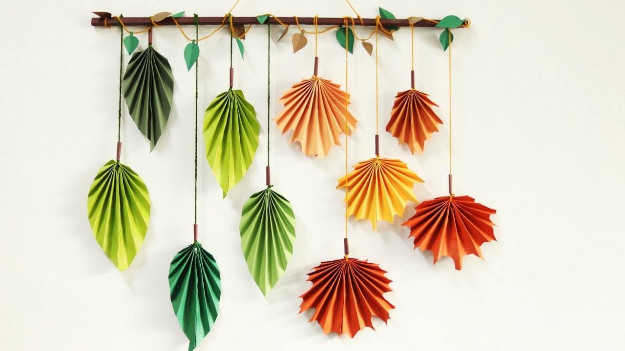 Paper leaf wall hanging tutorial - DIY easy wall decoration crafts ideas