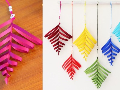 Paper leaf wall hanging tutorial - DIY Easy wall decoration ideas