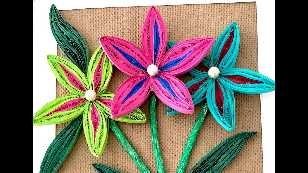 Quilling wall frame with flowers