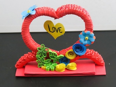 3d origami showpiece | DIY valentine's day gift from paper | 3d Paper craft - Room decor