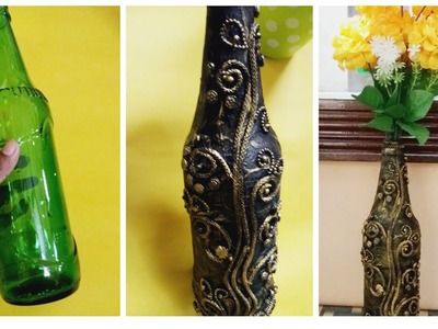 Antique Bottle Art.Bottle Flower Vase