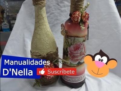 """Como Decorar Botellas Recicladas de Vidrio, Parte 2 ,By:""""Taller Nella 2018"""""""