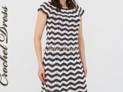 Crochet stripped dress - learn how to crochet using two yarn colors