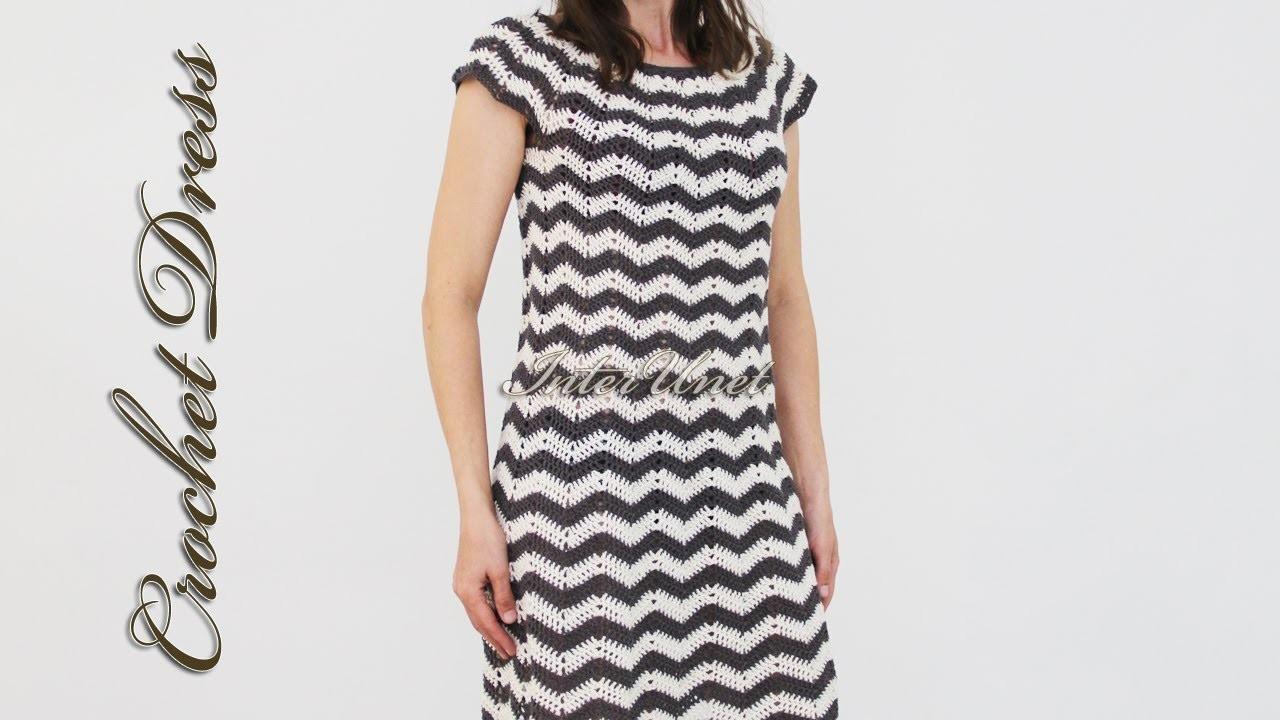 Crochet stripped dress - learn how to crochet using two yarn colors