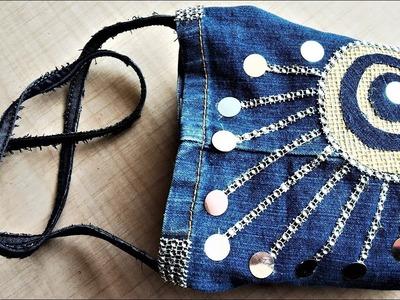DIY Denim Bag From Old Jeans   Old Cloth Reuse Ideas