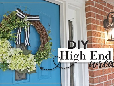 DIY High End Summer Front Door Hydrangea & Boxwood Wreath | DIY Summer Decor Ideas