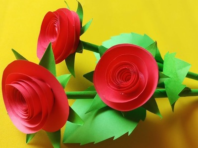 DIY | Rose paper flower - easy cut and paste | Easy flower cutting | DIY papercraft