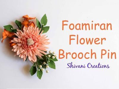 Foamiran Flower Brooch Pin. DIY Brooch Pin