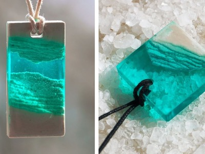 GYPSUM + EPOXY RESIN. PENDANTS MADE OUT OF AN EPOXY RESIN. 7 CHEAP AND EASY DIY JEWELRY IDEAS