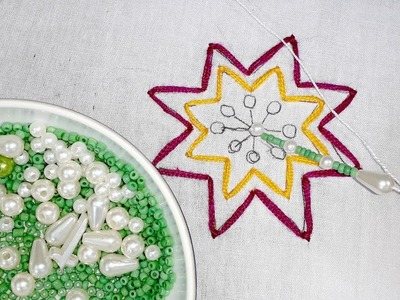 Hand embroidery cushion cover design with pearl