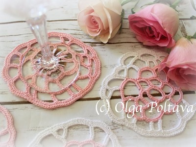 How to Crochet Freehand Freestyle Crochet Lace Coaster, Crochet Video Tutorial