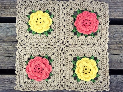 How To Join Crochet Rose Flower Granny Squares