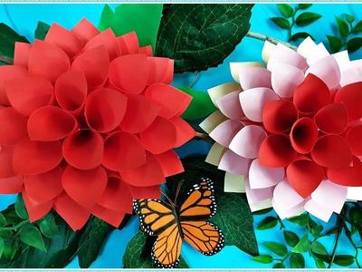 How to make a paper dahlia flower  ||  DIY easy paper craft  ||  Craft ideas for kids