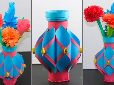 How to Make a Paper Flower Vase | Easy Paper Flower Vase | DIY Easy Paper Flower Vase