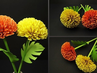 How to Make Beautiful Marigold Paper Flower | DIY Paper Flowers | Paper Decoration