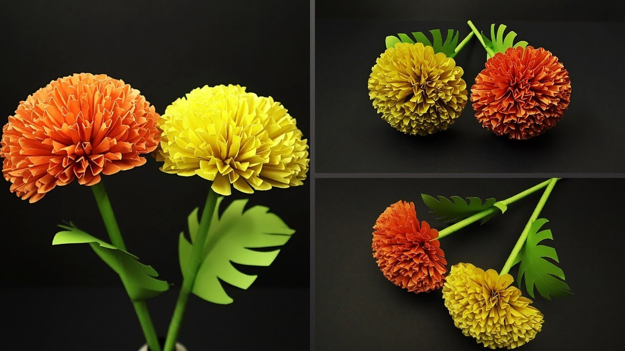 How To Make Beautiful Marigold Paper Flower Diy Paper Flowers