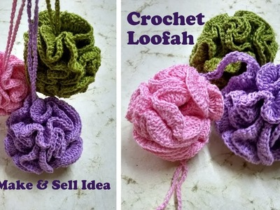 How to make Crochet Loofah | Easy Make And Sell Ideas | DIY Bath Pouf Tutorial | Cotton Shower Puff