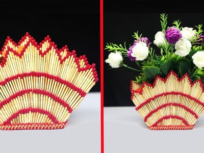 How to make flower vase with matchsticks | Matchstick art and craft ideas