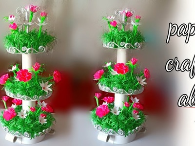 How to make home decoration flower plant stand with paper. how to make paper flower plant