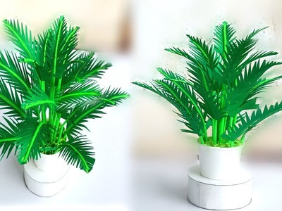 How to make paper leaf plant. home decoration paper plants. easy paper decor