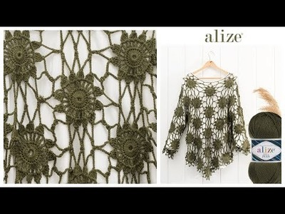 Kolay Bluz Yapımı - Easy Blouse Tutorial with Alize Diva Plus